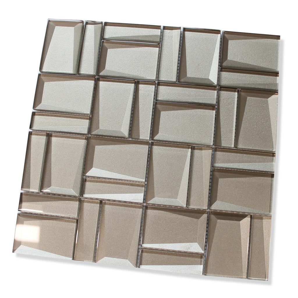 Illusion II 3D 3x3 Beveled Glass Mosaic Tiles - Patine