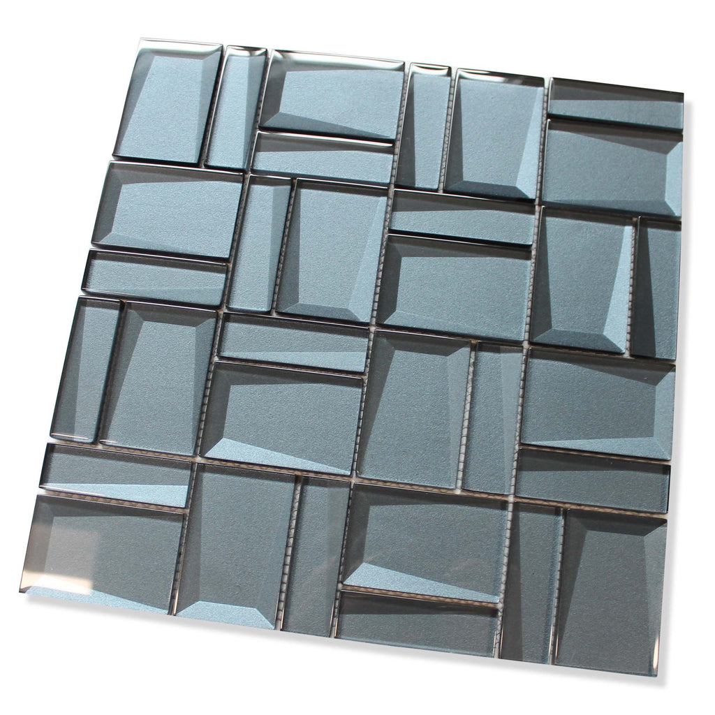 Illusion II 3D 3x3 Beveled Glass Mosaic Tiles - Sapphire