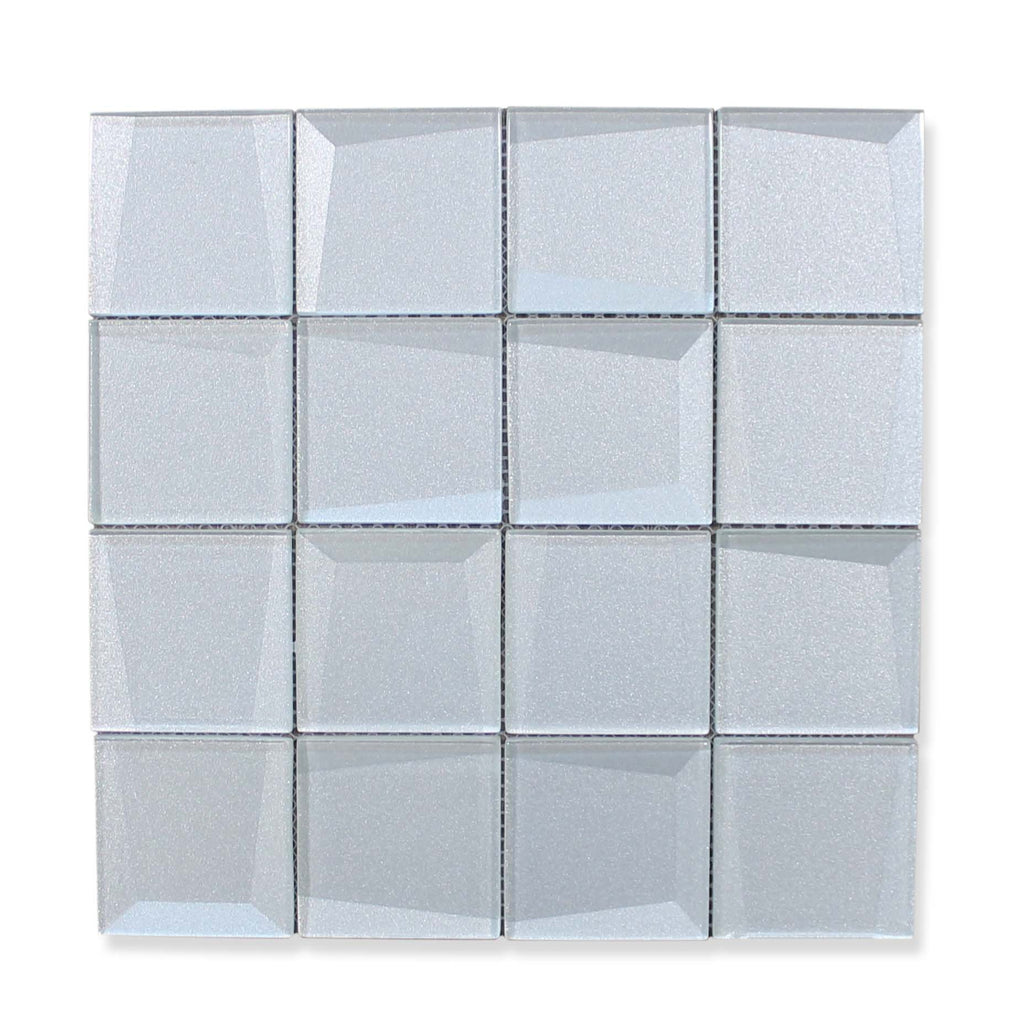 Illusion 3D 3x3 Beveled Glass Mosaic Tiles - Iridium