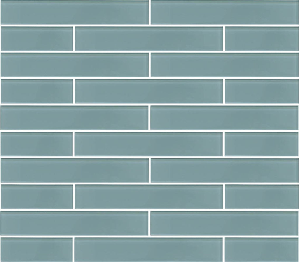 Jasper Blue Gray 2x12 Glass Subway Tiles - Rocky Point Tile - Glass and Mosaic Tile Store