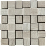 "King Wood 2"" x 2"" Basketweave Glazed Porcelain Mosaic Tiles - White"