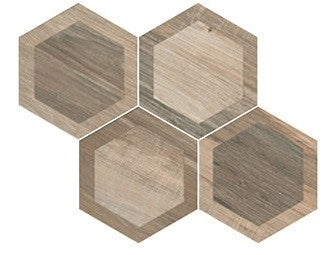 "King Wood 9.5"" x 10.75"" Hexagon Glazed Porcelain Tiles - Nut Intarsio"