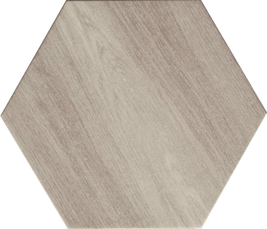 "King Wood 9.5"" x 10.75"" Hexagon Glazed Porcelain Tiles - Silver"