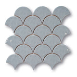 Fish Scale Ceramic Mosaic Tiles - Light Blue