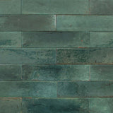 "Lume 2"" x 9"" Glazed Porcelain Subway Tiles - Glossy Green"