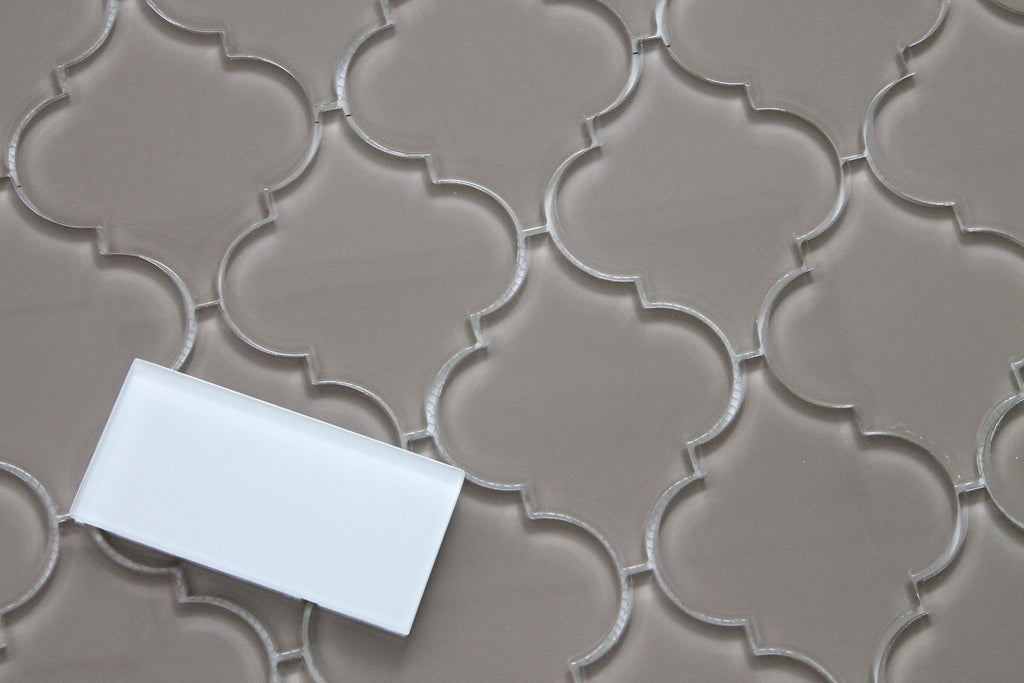 Manhattan Taupe Brown Arabesque Glass Mosaic Tiles - Rocky Point Tile - Glass and Mosaic Tile Store