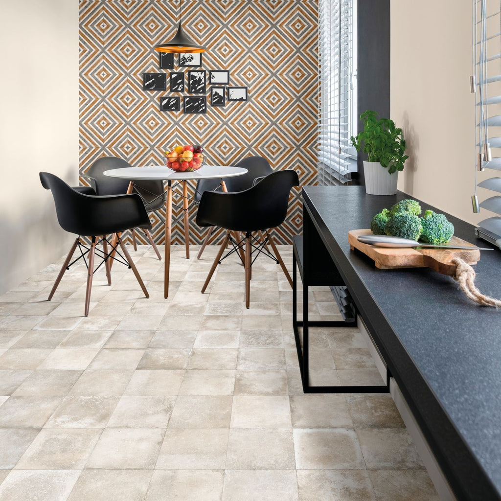 Mariner 900 8x8 Glazed Porcelain Pattern Floor Tiles - Bianco