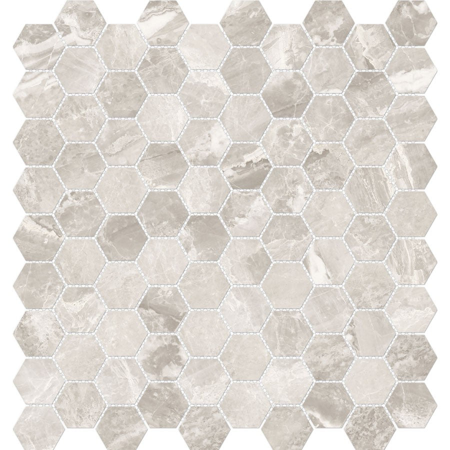 "Mayfair 1.25""x 1.25"" Hexagon Glazed Porcelain Mosaic Tiles - Polished Stella Argento"