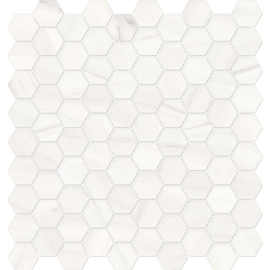 "Mayfair 1.25""x 1.25"" Hexagon Glazed Porcelain Mosaic Tiles - Polished Suave Bianco"