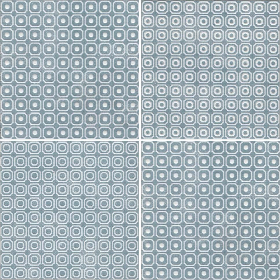 "Melody 8"" x 8"" Glazed Porcelain Patterned Tiles - Blue and White Blend"