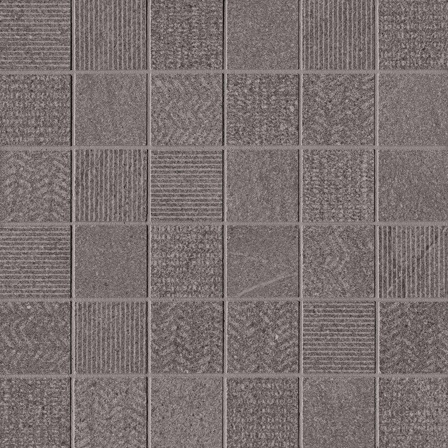 "Nextone 2"" x 2"" Porcelain Mixed Pattern Mosaic Tiles - Matte Dark"