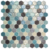 1 Inch Aquamarine Hexagon Mosaic Tiles - Rocky Point Tile - Glass and Mosaic Tile Store