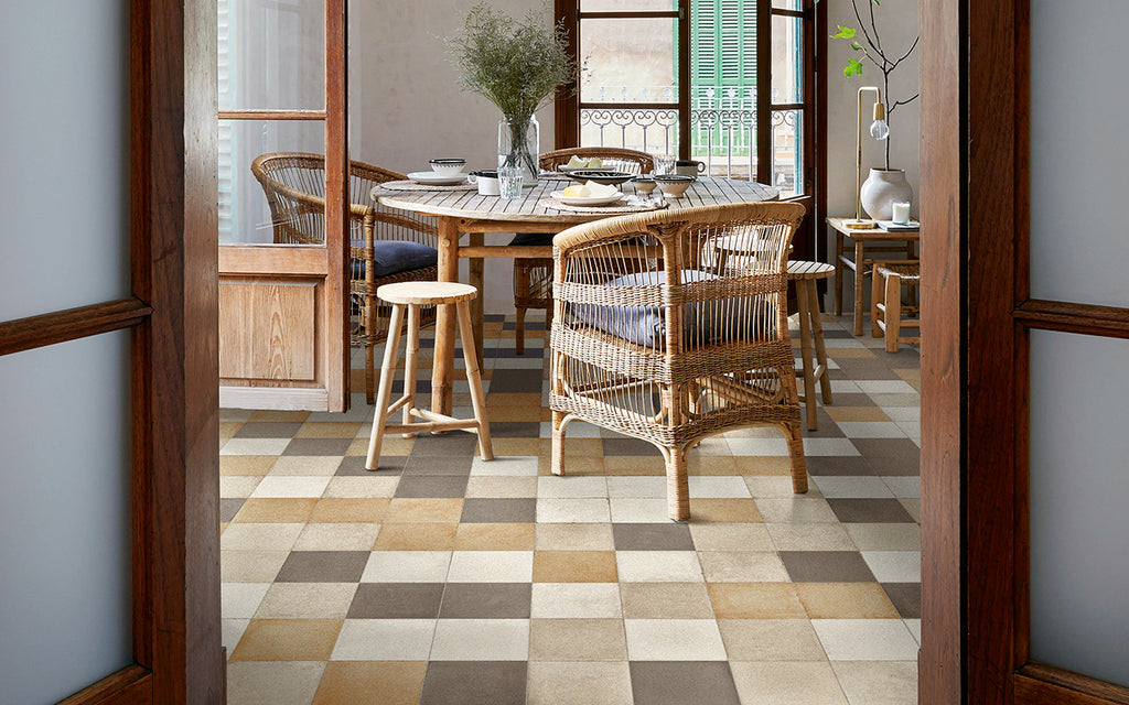 "Ottocento 8"" x 8"" Encaustic Look Tiles - Ocra Plain"