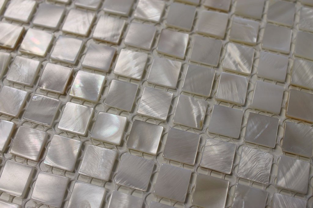 Mother of Pearl Oyster White Mini Square Mosaic Tiles - Rocky Point Tile - Glass and Mosaic Tile Store