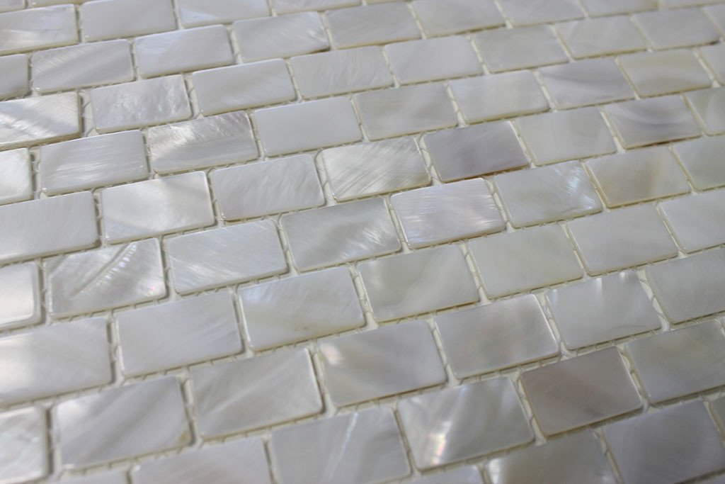 Mother of Pearl Oyster White Small Subway Mosaic Tiles - Rocky Point Tile - Glass and Mosaic Tile Store