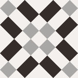 Patchwork Porcelain 8 x 8 Cement Look Tiles - Black and White 02
