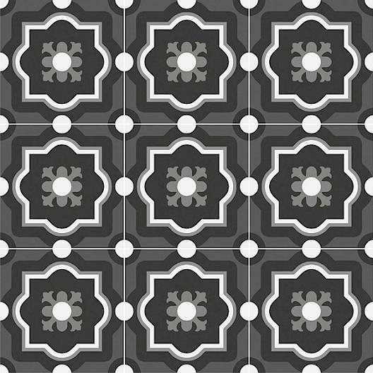 Patchwork Porcelain 8 x 8 Cement Look Tiles - Black and White 04