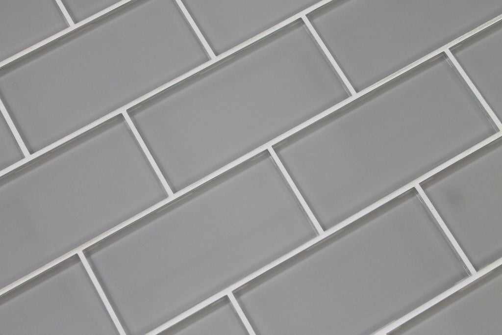 Pearl Gray 3x6 Glass Subway Tiles - Rocky Point Tile - Glass and Mosaic Tile Store