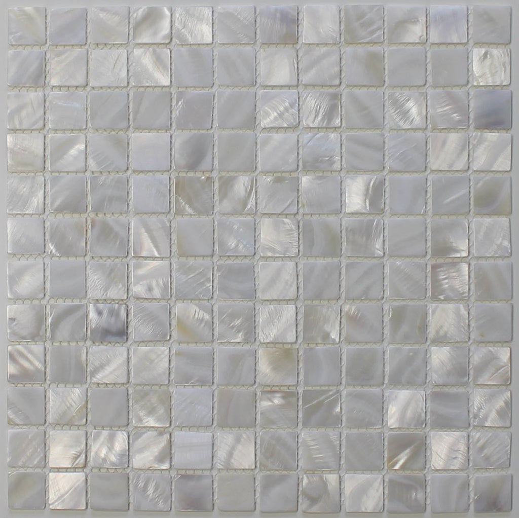 "Mother of Pearl Oyster White 1"" x 1"" Mosaic Tiles - Rocky Point Tile - Glass and Mosaic Tile Store"