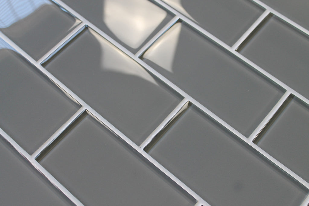 Pebble Gray 3x6 Glass Subway Tiles - Rocky Point Tile - Glass and Mosaic Tile Store