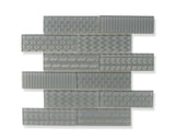 Quilted 2x6 Acid Etched Glass Mosaic Tiles - Storm
