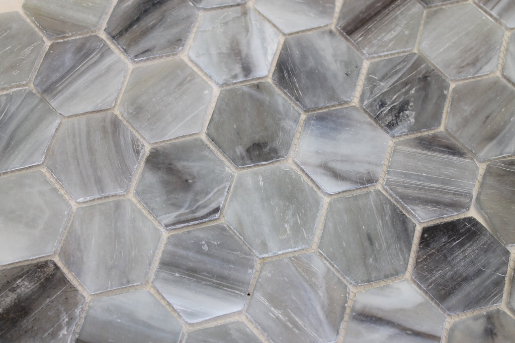 River Rock Recycled Hexagon Glass Mosaic Tile - Rocky Point Tile - Glass and Mosaic Tile Store