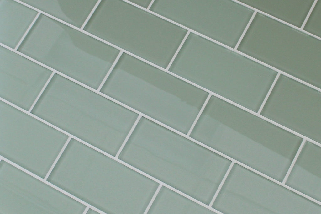 Sage 3x6 Glass Subway Tiles - Rocky Point Tile - Glass and Mosaic Tile Store