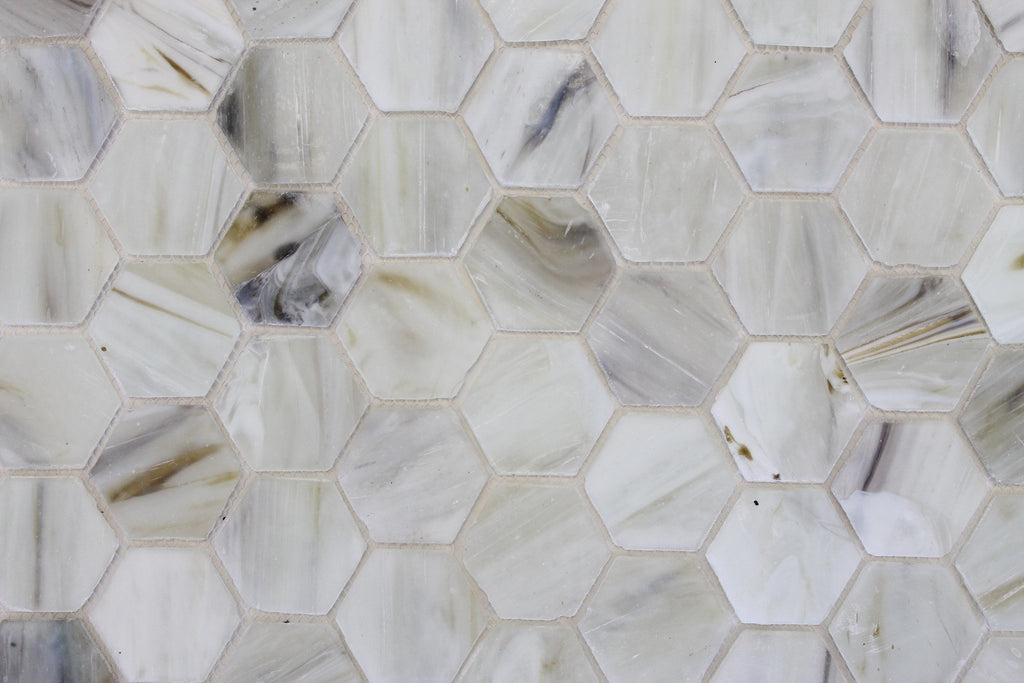 Sea Shell Recycled Hexagon Glass Mosaic Tile - Rocky Point Tile - Glass and Mosaic Tile Store