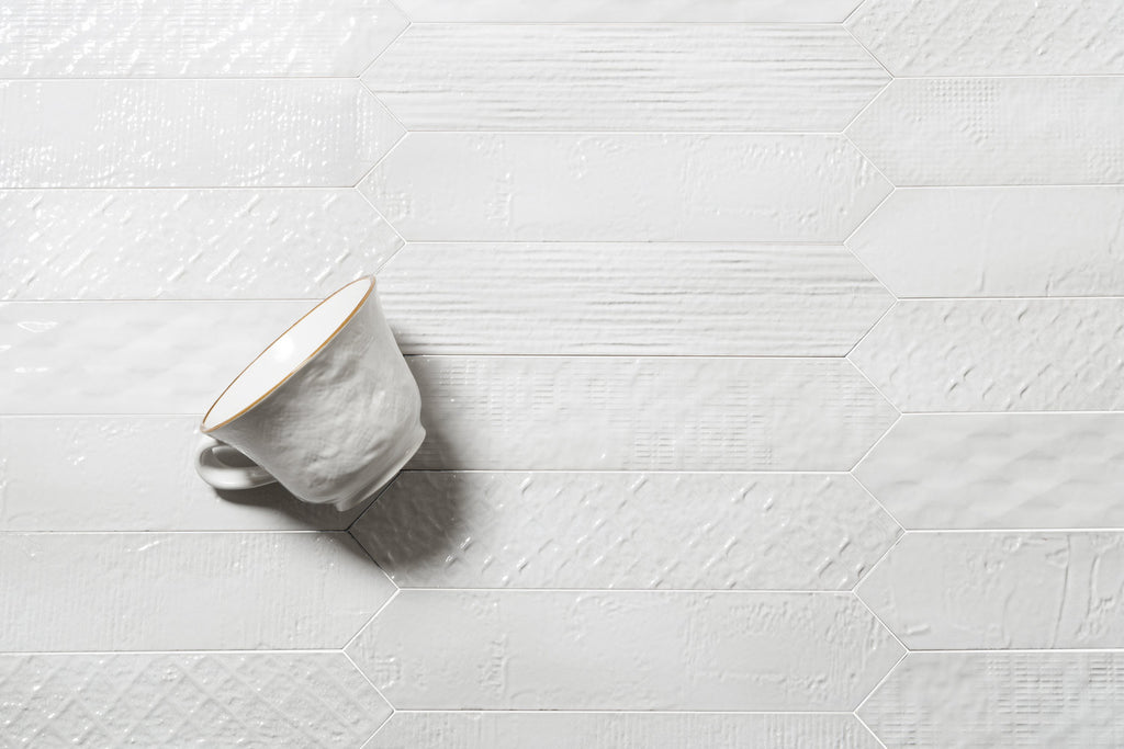 Sfumature Glossy Ceramic Wall Tiles -  Bianco Patterned