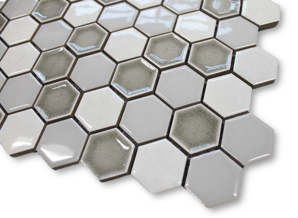 Honeycomb Beveled Hexagon Porcelain Mosaic Tiles - Silver Ice