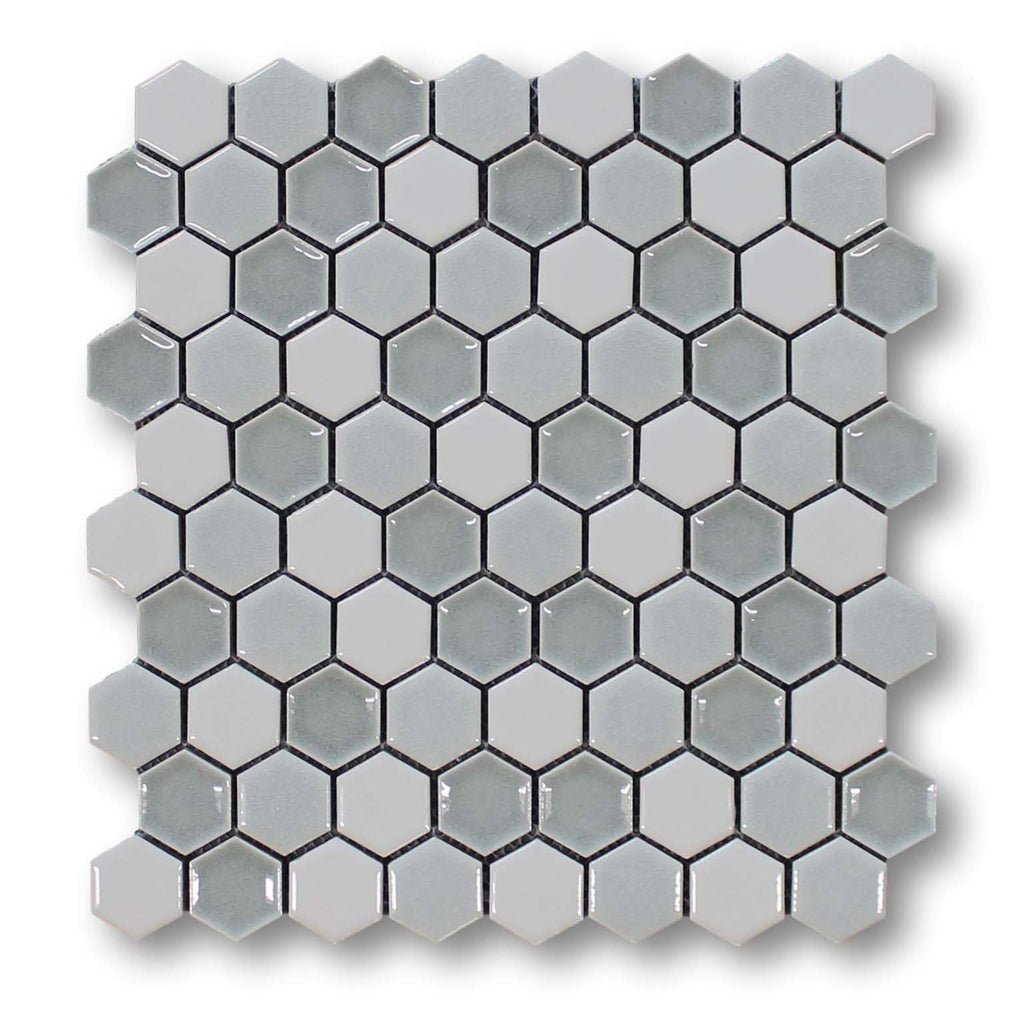 Honeycomb Beveled Hexagon Porcelain Mosaic Tiles - Sky Mist