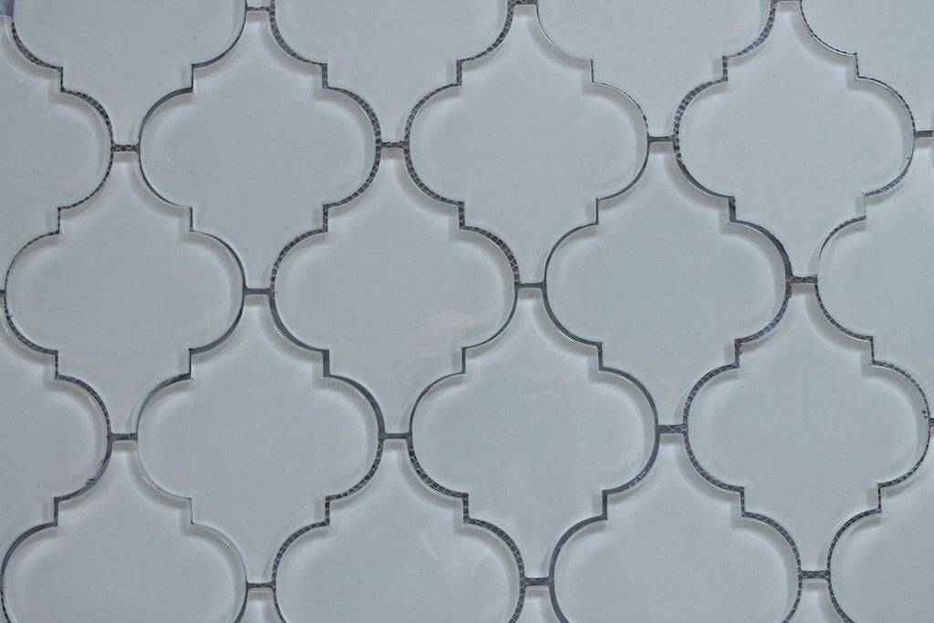 Snow White Arabesque Glass Mosaic Tiles - Rocky Point Tile - Glass and Mosaic Tile Store