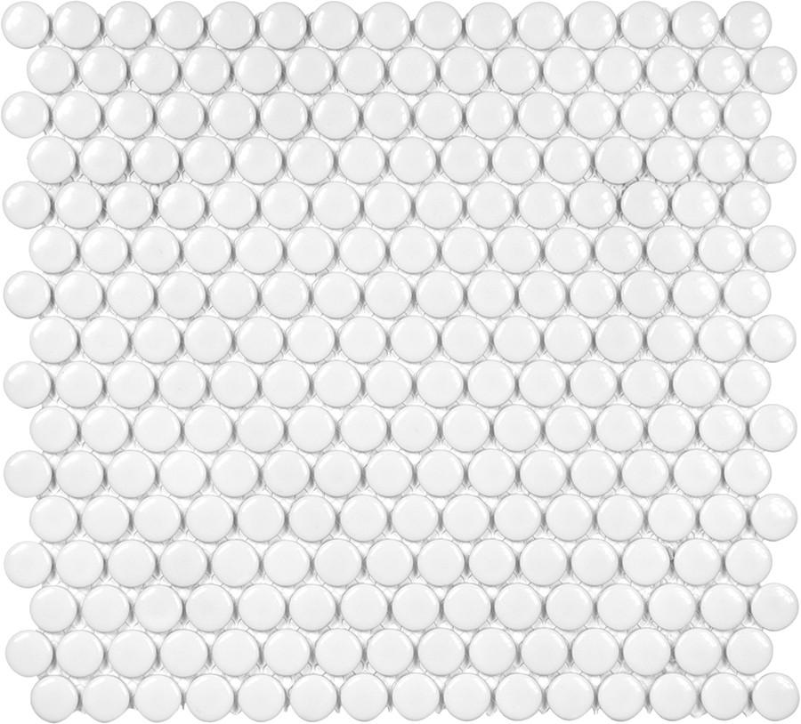 Glazed Porcelain Penny Round Mosaic Tiles - 3/4 Inch White - 10 Square Feet - Rocky Point Tile - Glass and Mosaic Tile Store