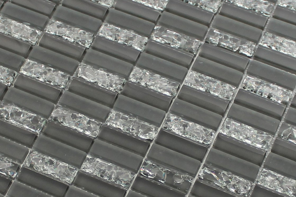 Sparkle Smoke Glass Mosaic Subway Tiles - Rocky Point Tile - Glass and Mosaic Tile Store