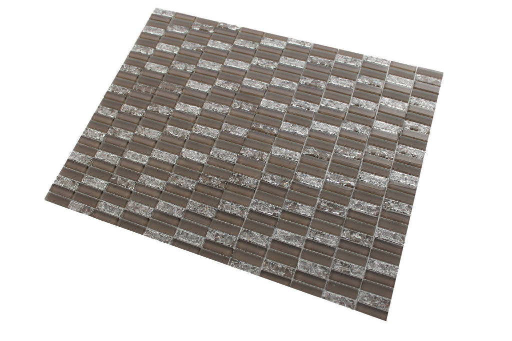 Sparkle Taupe Glass Mosaic Subway Tiles - Rocky Point Tile - Glass and Mosaic Tile Store