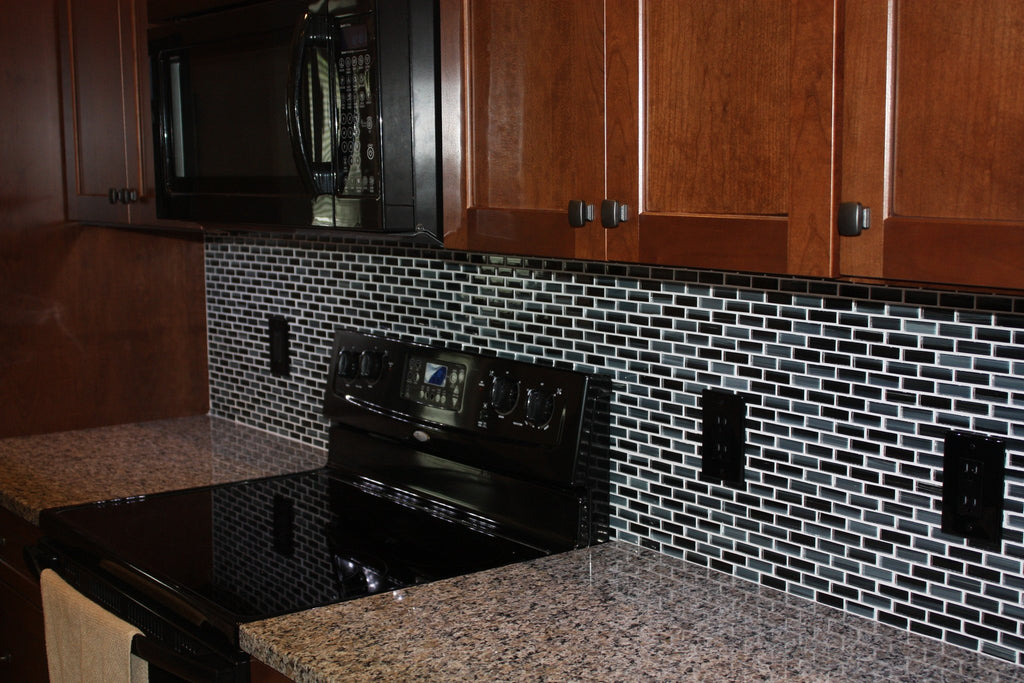 Starry Night Hand Painted Glass Mosaic Subway Tiles - Rocky Point Tile - Glass and Mosaic Tile Store
