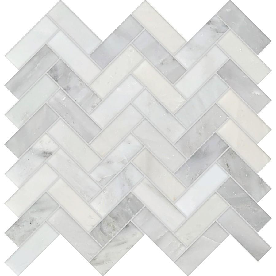 "Studio Marble Polished 1"" x 3"" Herringbone Mosaic Tiles - Bianco Macchiato"