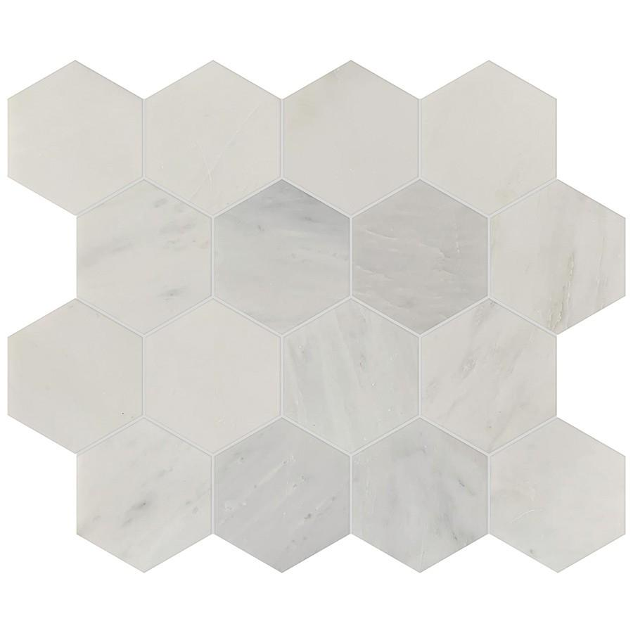 "Studio Marble Polished 3"" Hexagon Mosaic Tiles - Bianco Macchiato"