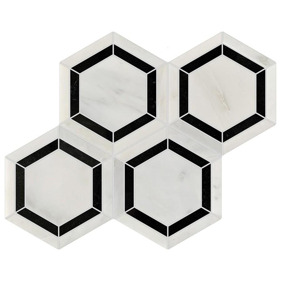 Studio Marble Polished Honeycomb Mosaic Tiles - Bianco and Nero