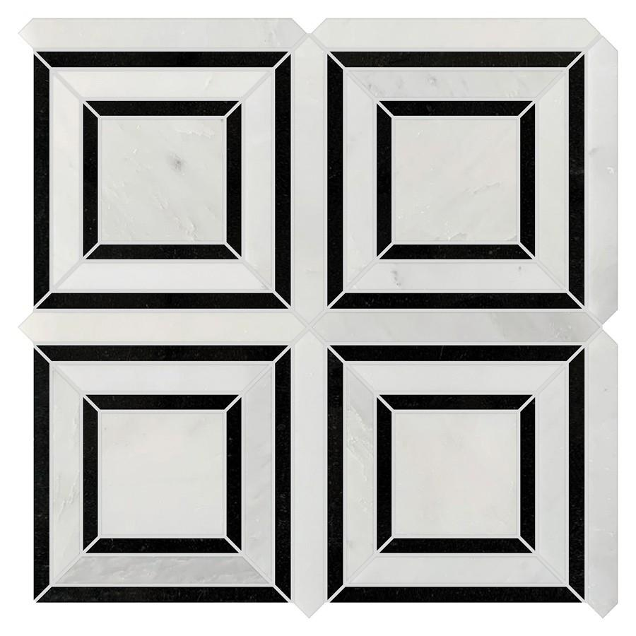 Studio Marble Polished Quadra Mosaic Tiles - Bianco and Nero