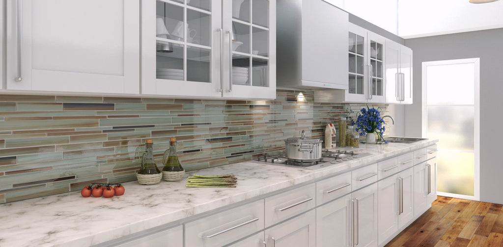 Sunset Beach Hand Painted Linear Glass Mosaic Tiles - Rocky Point Tile - Glass and Mosaic Tile Store