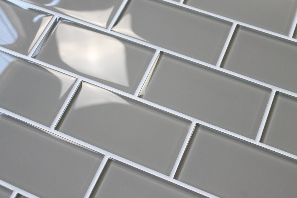Taupe 3x6 Glass Subway Tiles - Rocky Point Tile - Glass and Mosaic Tile Store