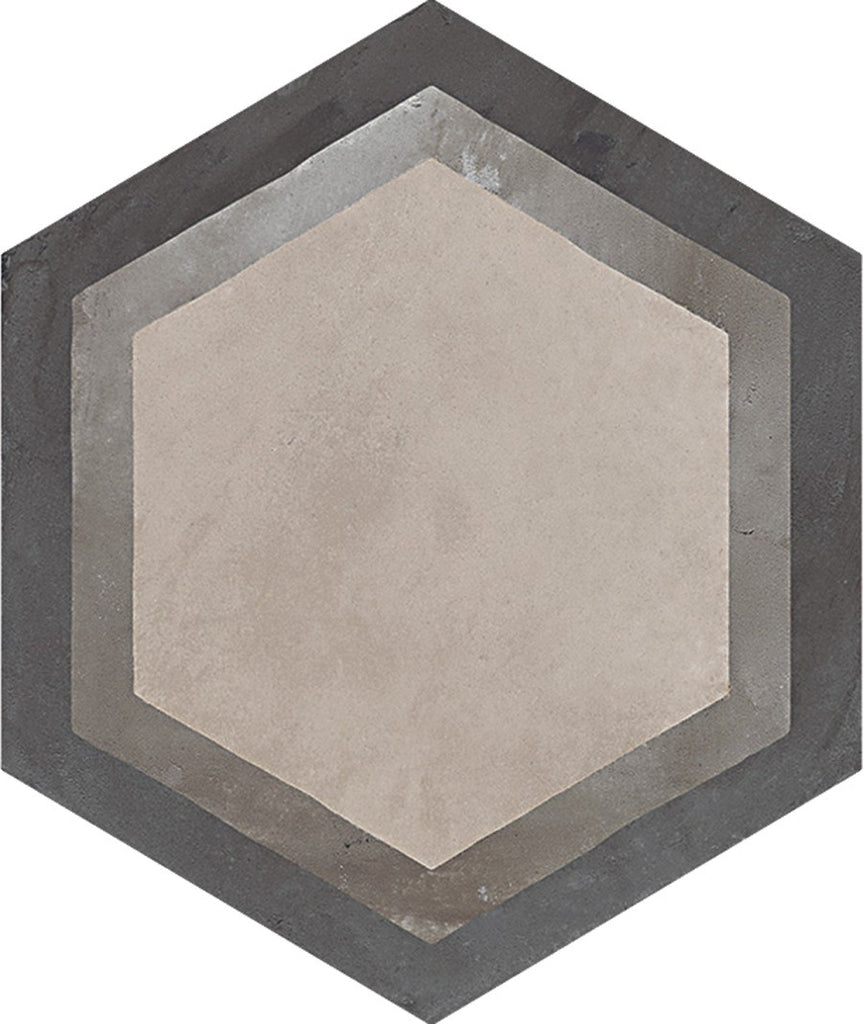 "Terra 10""x 8.5"" Glazed Porcelain Hexagon Tiles - Matte Cornice Decor"