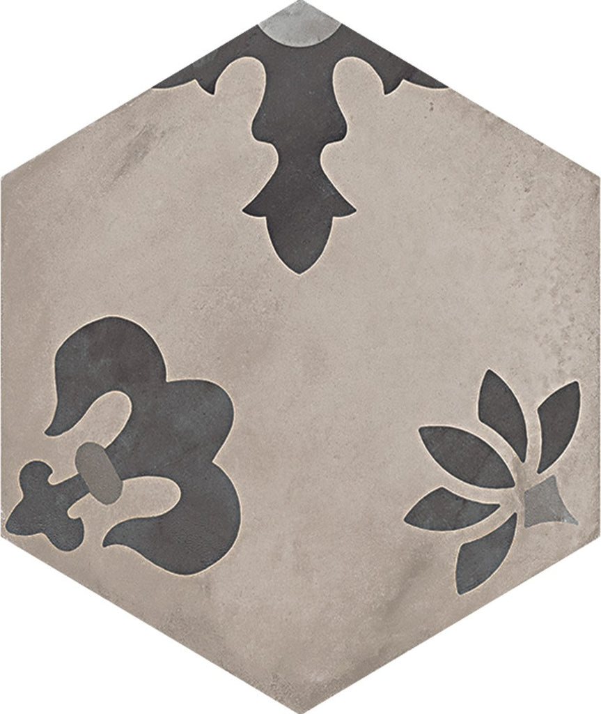 "Terra 10""x 8.5"" Glazed Porcelain Hexagon Tiles - Matte Giglio Mix Decor"