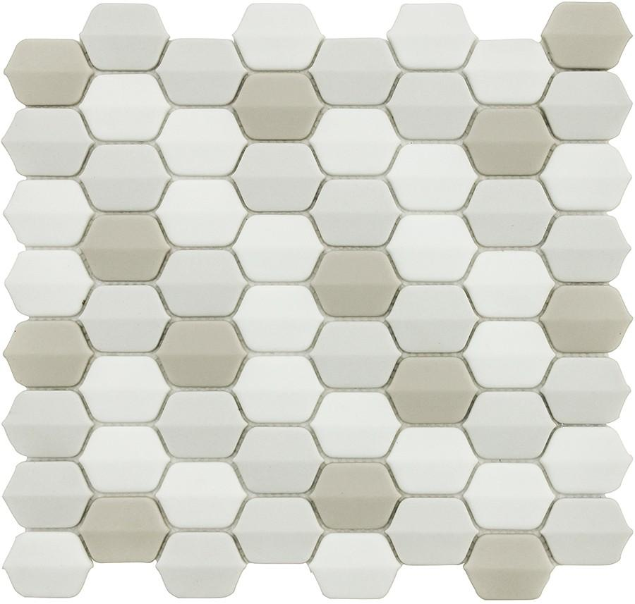 Vetro D'Terra Glass Calacatta Elongated Hexagon Mosaics - Rocky Point Tile - Glass and Mosaic Tile Store