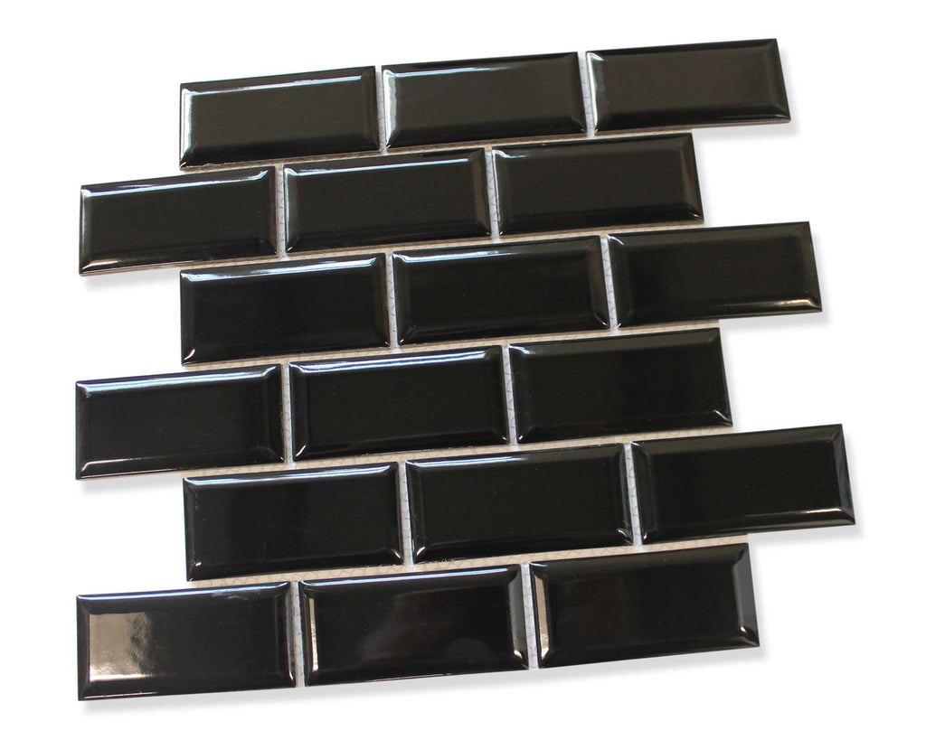 Victorian Beveled Black Gloss Mosaic Tile