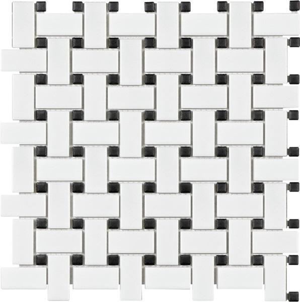 Glazed Porcelain White and Black Basketweave Mosaic Tiles