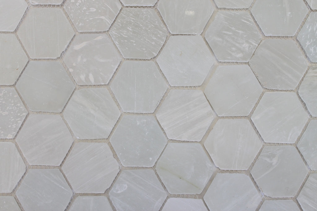 White Beach Glass Recycled Hexagon Mosaic Tile - Rocky Point Tile - Glass and Mosaic Tile Store
