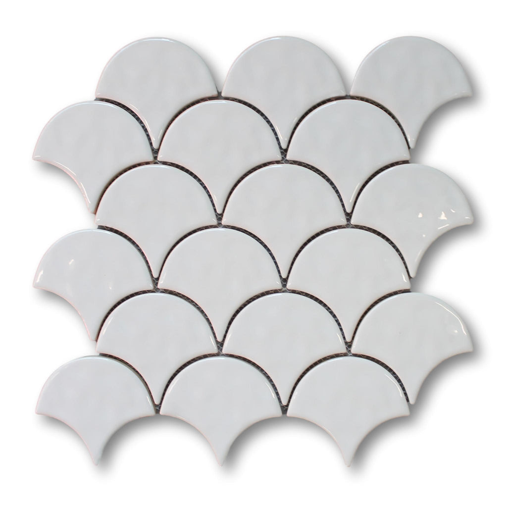 Fish Scale Ceramic Mosaic Tiles - White
