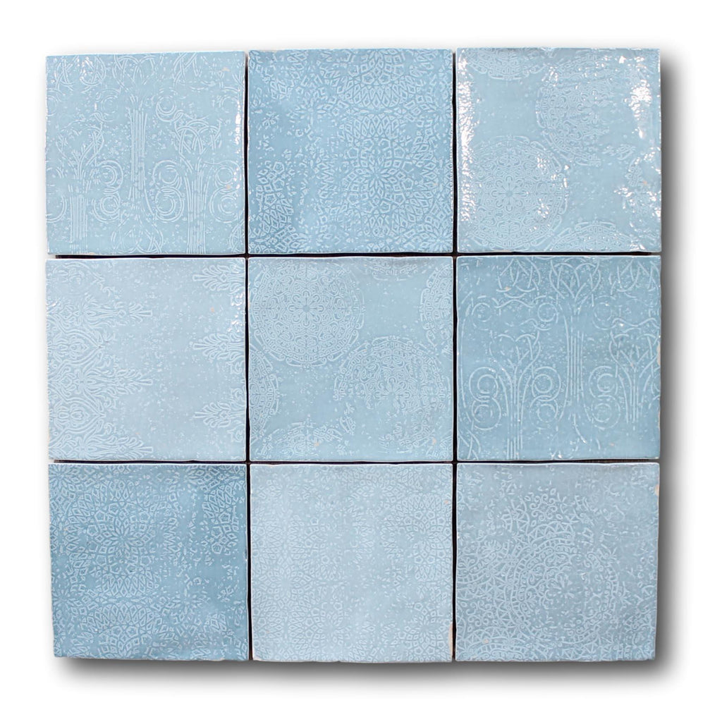 Mestizaje Zellige 5 x 5 Ceramic Tiles - Aqua Decor